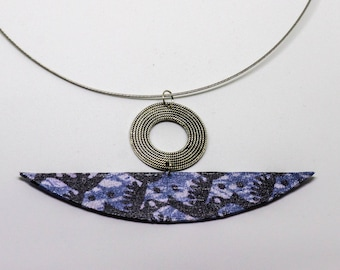 Ethnic pendant in Wax fabric blue and silver chandelier - gift idea