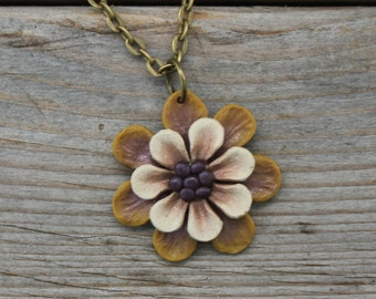 Whimsical Flower Pendant Necklace - Gold and White Layered Petals