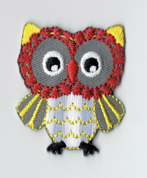 """Patch fusible trendy red and yellow """"OWL"""" pattern"""