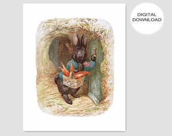 "Peter Rabbit Download, Beatrix Potter Nursery (Printable Rabbits, Baby Boy Wall Art, Woodland Decor, Girls Room Print) -- ""A Friend Visits"""