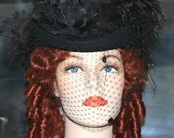 Black Kentucky Derby Hat, Victorian Riding Hat, SASS Hat, Coctail Hat - Spirit of Wichita