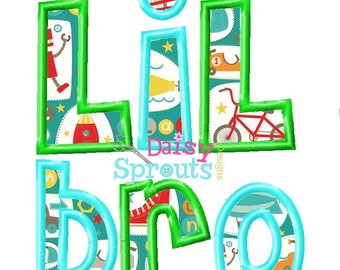 Lil Bro Machine Applique - Instant Download