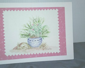 Potted Cactus watercolor note card