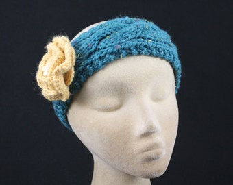 Wool Headband Hand Knit of Wool Blend & Featuring a Wide Cable - Blue with Yellow Flower