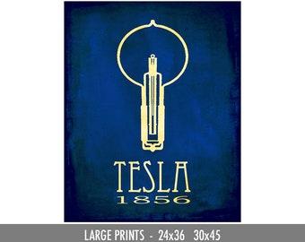 Science Poster for Nikola Tesla. Steampunk Art, Rock Star Scientist. Computer Scientist Gift. School Classroom Art. Light Bulb Illustration