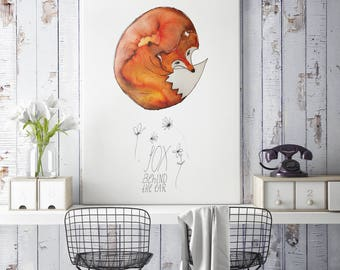 Fox behind the ear -  Art print (3 different sizes)
