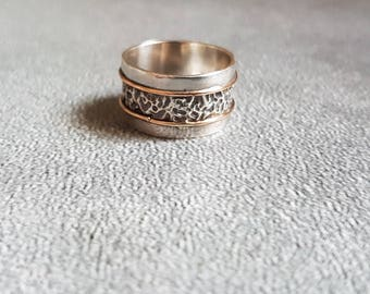 Silver Gold Band Ring, Handmade Ring, 2 Tones Ring, Two Tones Ring, Blackened Ring, Texture Ring, Silver Ring, Women Jewelry, Ring Gifts