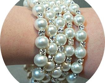 Braut Armband, Perlen und Strass, Memory Wire, Manschette Armband, breite Armband, Braut-Accessoires, Hochzeitsschmuck, funkelnd, Armband