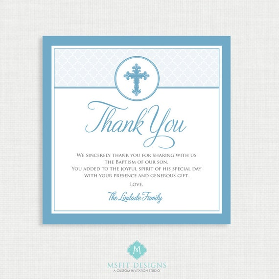 Printable Baptism Thank You Card - DIY Printable Thank you - Christening, First Communion, Dedication, Baby Blessing - Blue - Moroccan