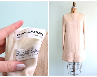Vintage 1960's Pierre Cardin Ivory Silk Quilted Dress | Size Small