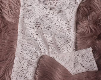 Newborn /Sitter White Lace stretch romper,in 4 styles,Photographers Prop,all have a low back.RTS ,Made in the uk,I ship worldwide