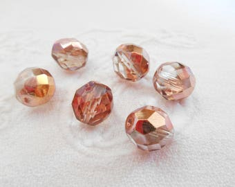 A set of 6 beads copper 12 mm faceted Czech glass.