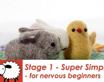 Bunny and chick kit - needlefelt rabbit kit - easter chick