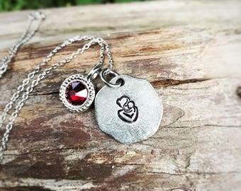 Hand Stamped pewter mother and baby necklace - new baby - baby loss - adoption