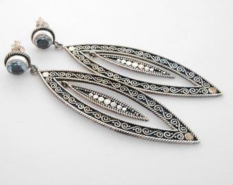Topaz gemstone Sterling Silver stud earrings / Bali handmade jewelry / silver 925 / 2.25 inch long