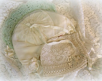 instant collection 3 adorable vintage baby hats crocheted and organdy crocheted by hand hand crochet organdy with lace S & L Size 13