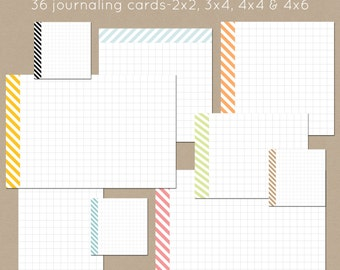 Striped Journalers-Set of 36 Printable Journaling Cards 2x2, 3x4, 4x4, 4x6
