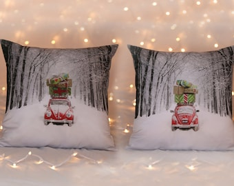 Throw pillow cover coastal Beach house Christmas decoration Volkswagen VW bug winter presents pillow gift