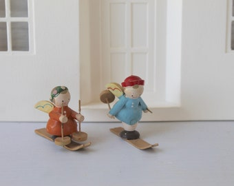 Vintage Pair of Small Wood Angel Ski Figure Ornaments, Vintage Angel on Skis Christmas Tree Ornament, Vintage Wooden Ornament