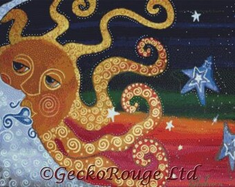 Sun and Moon Cross Stitch Kit,  'Celestial' By Laura Barbosa, NeedleCraft Kit, Modern Cross Stitch Art, Counted Cross Stitch,