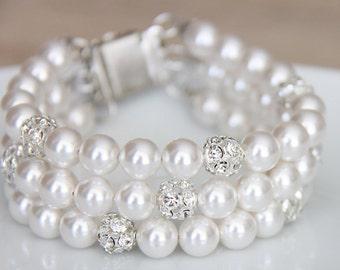 Bridal Jewelry Bracelet, White Pearl Bridal Jewelry Bracelet, Pearl Bracelet, Wedding Bracelet, Pearl Cuff Bracelet 3-strands art. b06
