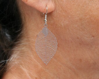 Taupe color leaf earrings