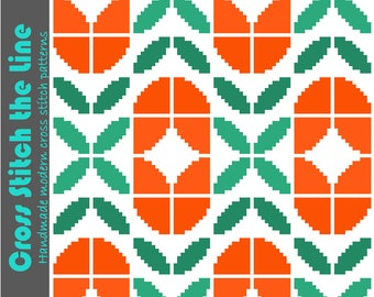 Contemporary retro cross stitch pattern of tulips. Mid Century modern embroidery chart ideal for larger projects such as cushion covers.