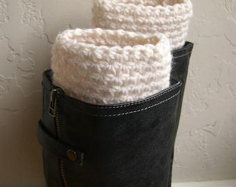 Cream boot cuffs - fashion boot cuffs - handmade warm boot toppers - cream legwarmers - crochet boot cuffs - Made in America - teenager gift