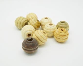 bead set round wood Brown 13mm x 10 (l785)