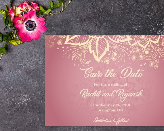Mehndi Party Invitation Template : Classic wedding save the date indian henna