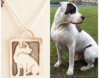 Sterling Art Necklace, Your Pet as a Pendant personalized jewelry .. Solid Back, Full Body Pet Portrait