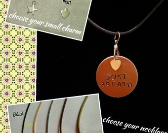Hand-Stamped Pendant Necklace (Just Breath)