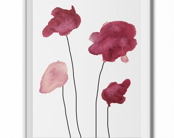 Four Fuschia/Red Watercolor Flowers Wall Art Print - 11x14 PDF Instant Download