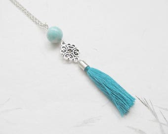 Amazonite necklace, yoga necklace, tassel necklace