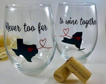 Best Friend Wine Glass - Long Distance Friendship Gift - Best Friend Gift - Friendship Long Distance - Pair - Stemless Wine Glass