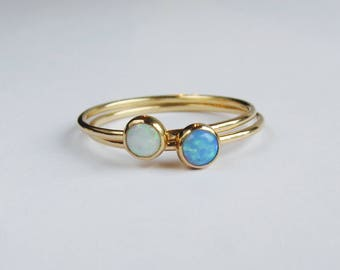 Opal stacking rings. Rings set. Set of two gold filled rings, birthstone rings.
