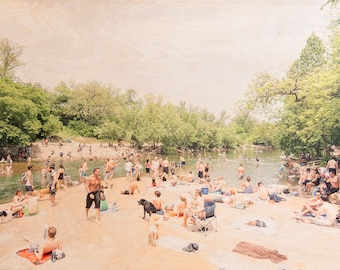 Austin Swimmers, 'Overflow' Fine Art Photography, Limited Edition, Image Transfer on Wood Panel by Patrick Lajoie, Barton Springs, Texas