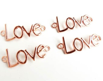 4 Rose Gold Plated Love Connectors - 3-11