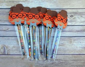 Pumpkin Boy Mustache- Halloween Pencils-Halloween Party favors-Classroom Pencils-Pencil Favors-Halloween-Trick or Treat