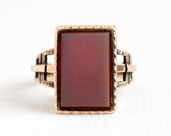 Sale - Victorian Sardonyx Ring - Antique 10k Rosy Yellow Gold Vintage 1890s Size 7 1/4 - Banded White Red Rectangular Statement Fine Jewelry