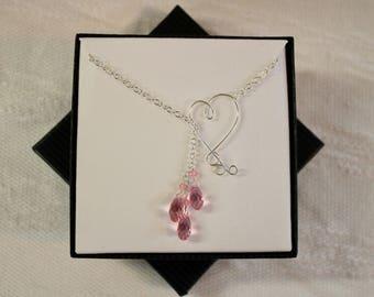 Rose Pink Swarovski Crystal Sterling Silver Lariat Necklace