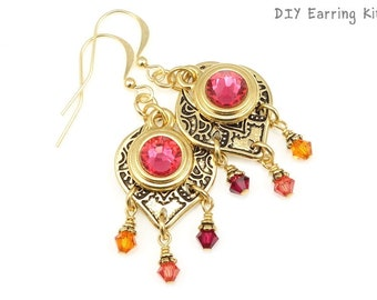 Gold Earrings Kit - DIY Jewelry Kit Do It Yourself Earrings Kit - CARAVAN Earrings Make It Yourself Set - Eastern Inspired - Tropical