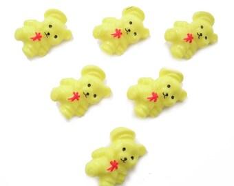 LOT 6 buttons: 26mm yellow bear