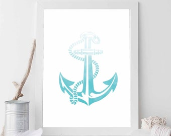 Aqua Anchor, Aqua Print, Nautical Print, Aqua Decor, Anchor Print, Anchor Prints, Anchor Art, Beach Art, Nautical Wedding Decor