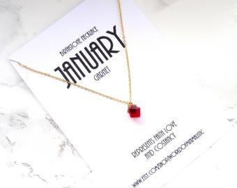 JANUARY birthstone necklace, garnet minimalist gold necklace, birthstone jewelry, mothers day gift, dainty delicate necklace, bridesmaid