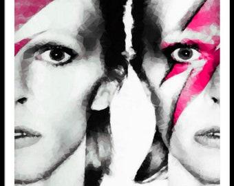 David Bowie Soft Kubismus Rose/Music/PopIkone/Art/ExpressionimsAbstract/Color/Print/Painting/XXLPainting/Poster/Canvas/MetalPrint/Colourful
