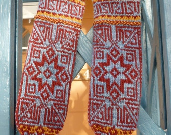 Seljuk Mittens Digital Knitting Pattern PDF-- fair isle stranded colorwork knitting pattern