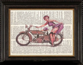 Motorcycle  Pin Up Girl-Vintage Dictionary Art Print---Fits 8x10 Mat or Frame