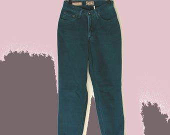 80's Vintage Emerald Green High Waist EXPRESS Straight Leg Jeans