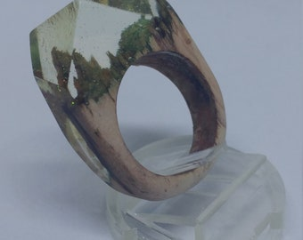 Wood and Resin Faceted Ring